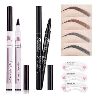 Brand New Eyebrow Pencil Waterproof Fork Tip Eyebrow Tattoo Pen 4 Head Fine Sketch Liquid Eyebrow Enhancer Dye Tint Pen(China)