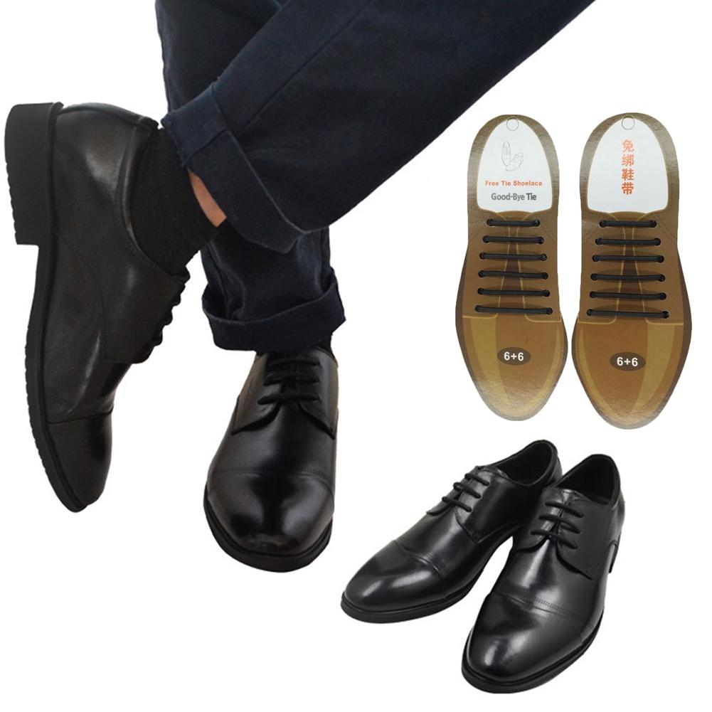 10Pcs/Set Men Women Leather Shoes No Tie Shoelaces Elastic Silicone Shoe Lace Lazy Shoelaces Suitable 3 Sizes Black Brown