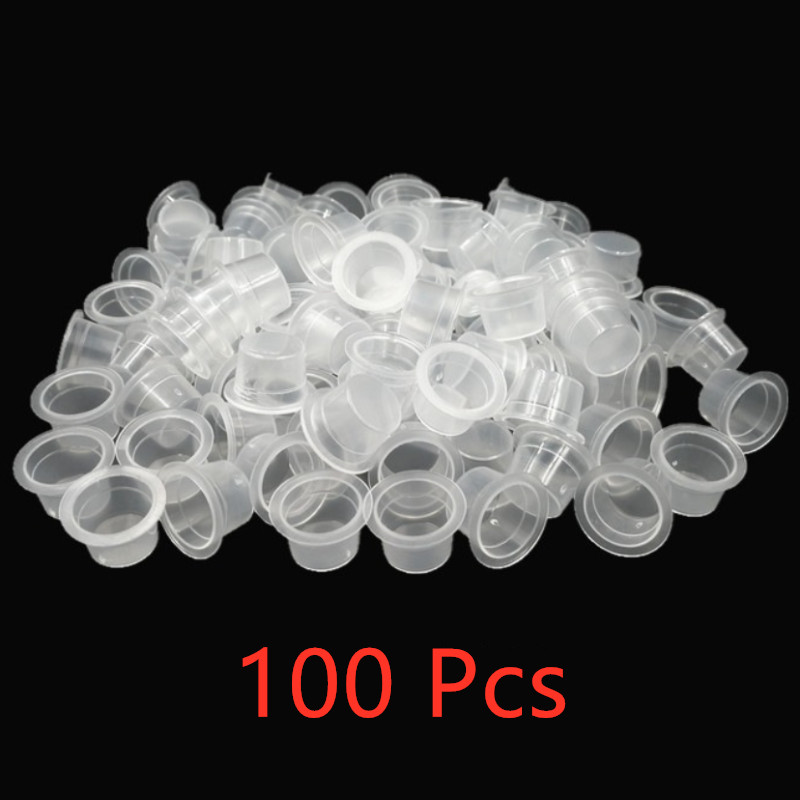 100pc S/M Plastic Disposable Microblading Tattoo Ink Cups Permanent Makeup Pigment Clear Holder Container Cap Tattoo Accessory
