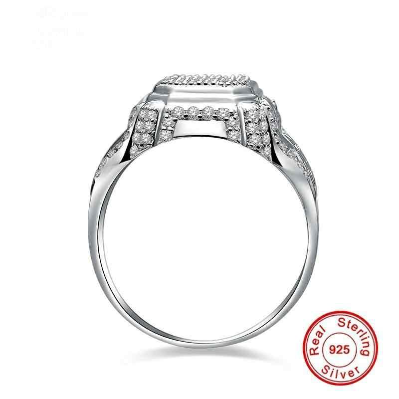 แพงแต่ WAY Better คุณภาพ 100% S925 แหวน Sterling Silver Lab สร้างเพชรยุ้ยแหวน 9*14 มม. pear CUT