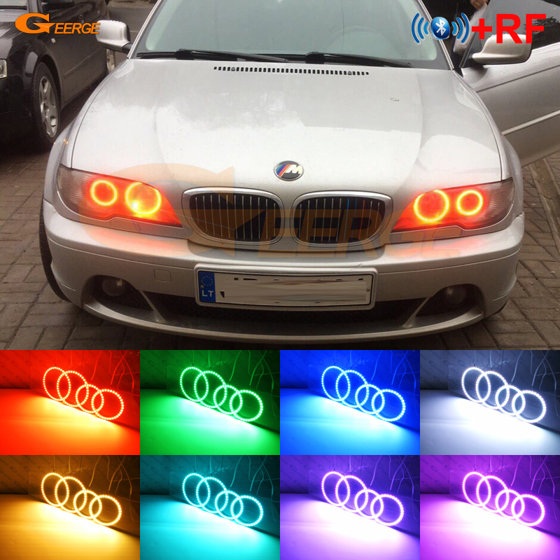 WIFI APP RGB SMD LED Angel Eyes Halo Ring DRL Kit For 04-06 E46 COUPE FACELIFT