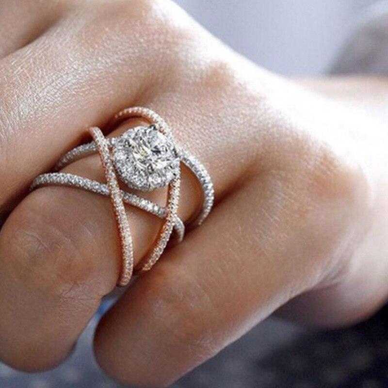 Новинка, кольца из розового золота для женщин, полностью Кристальное обручальное кольцо из Стразы для дам, Женские аксессуары, кольца на палец, ювелирное изделие, подарок - Цвет основного камня: 17
