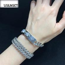 USENSET Charm Jewelry Stainless Steel Zircon Bracelet For Women Natural Stone Cuban Link Chain Bracelets