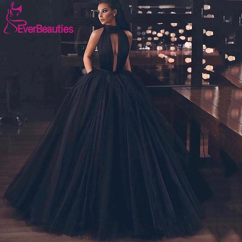 Vestidos de Baile Preto de Tule com Bolsos Vestidos de Gala de Baile Longo 2020