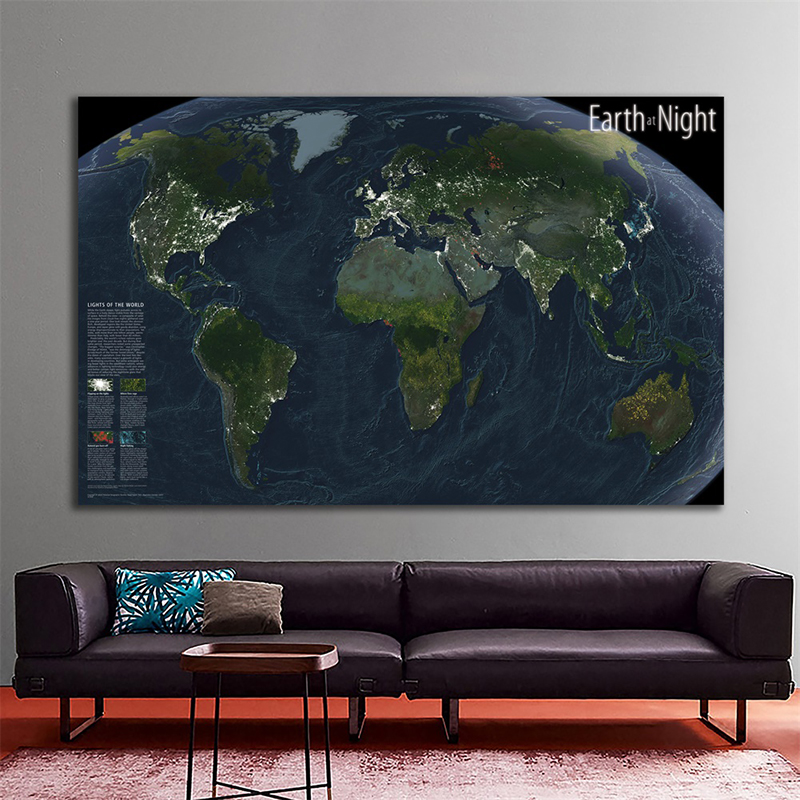 World Map Wall Sticker 150x100cm Earth At Night Satellite Imagery National Geographic World Map For Education And Culture