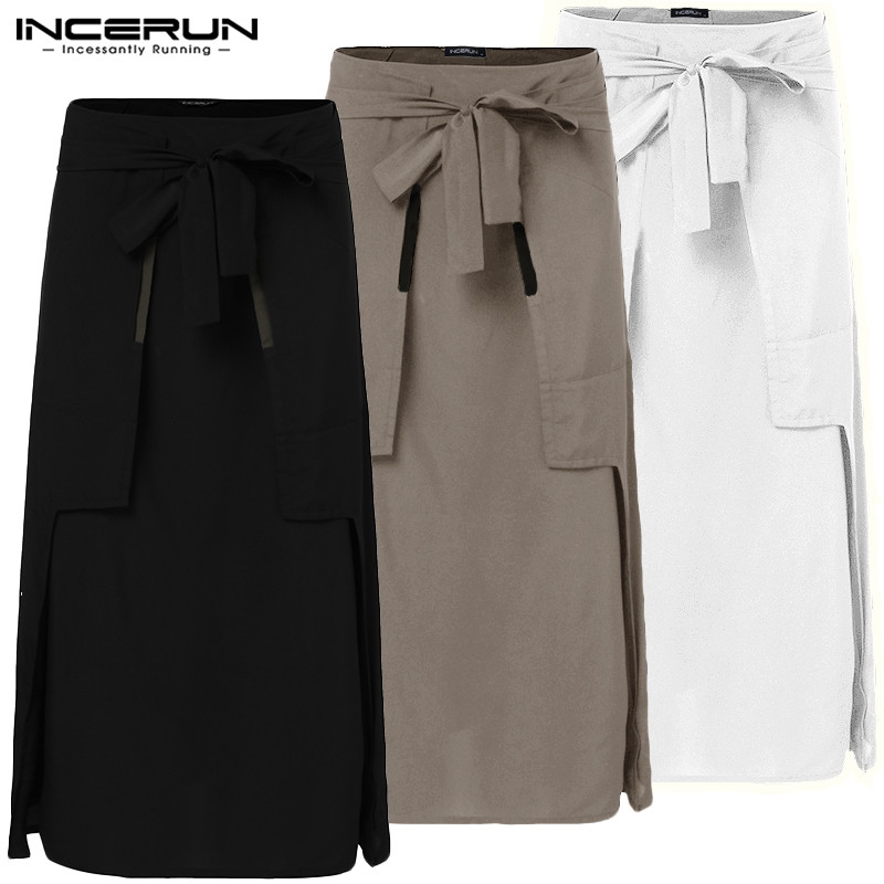 INCERUN  Kilt Samurai Trouser Fashion Mens Kilts Martial Arts Style Kendo Skirts Men Retro Solid Pockets Military Skirts