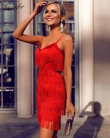 Summer Bandage Dress High Quality Rayon Spaghetti Strap Spaghetti Strap Bodycon Knee Length Tassel Club Party Dress Vestidos
