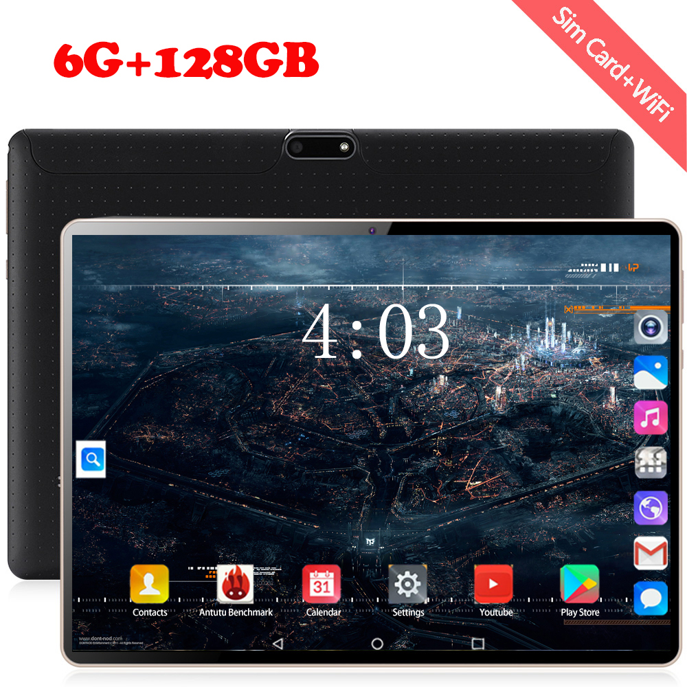 10.1 Inch Android 8.0 Tablet Pc Deca Core 6GB/128GB 1920*1200 IPS WiFi Bluetooth Dual SIM 3G/4G LTE Phone Call Pc Tablet 10.1