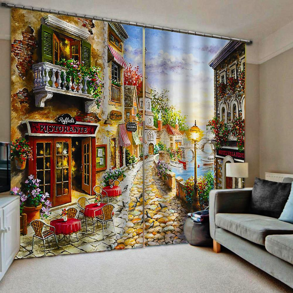 Oil Printing Blackout Curtains Window Curtain Living Room European style Small town 3D Curtain Bedroom image