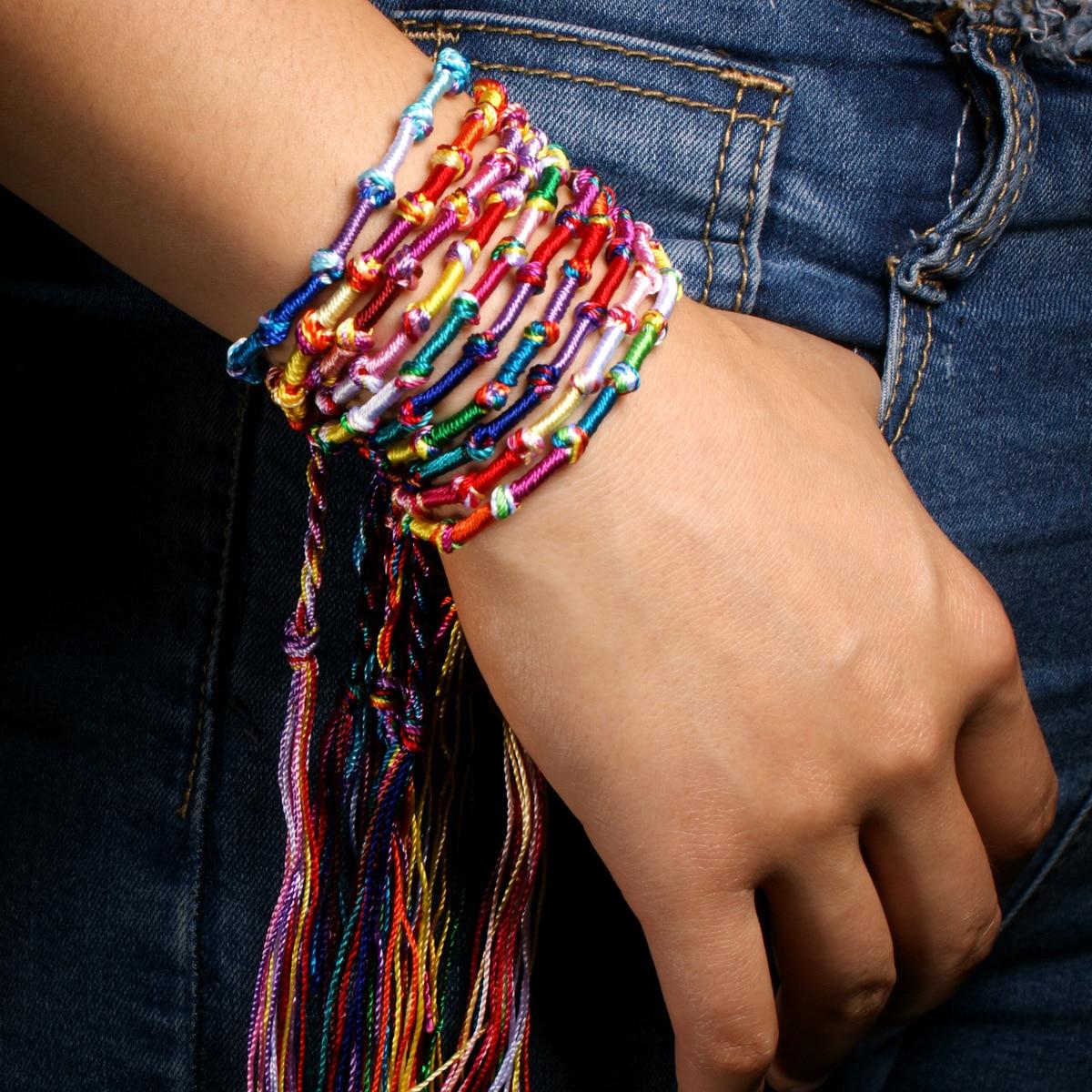 10pc Colorful Woven Braided Friendship Bracelet Handmade Brazilian String Cotton Cord Hippie Surf Men Women Jewelry Gift