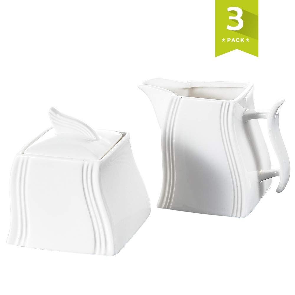 MALACASA Flora White Porcelain Creamer and Sugar Pot Set for Coffee&Tea 4.75-Inch Milk Pot Jug with Handle  3.5-Inch Sugar Pot