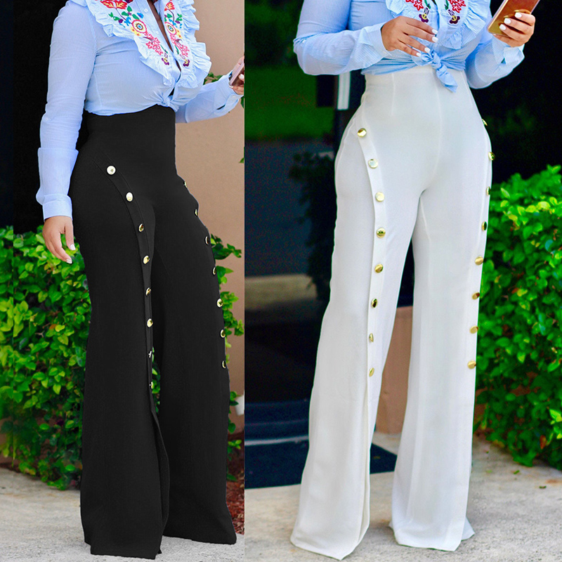 Pantalones De Pierna Ancha Para Mujer Capris Recortados De Cintura Alta Para Trabajo De Dama Ropa Formal De Negocios Elegantes Con Botones Laterales Abiertos Pantalones Y Pantalones Capri Aliexpress