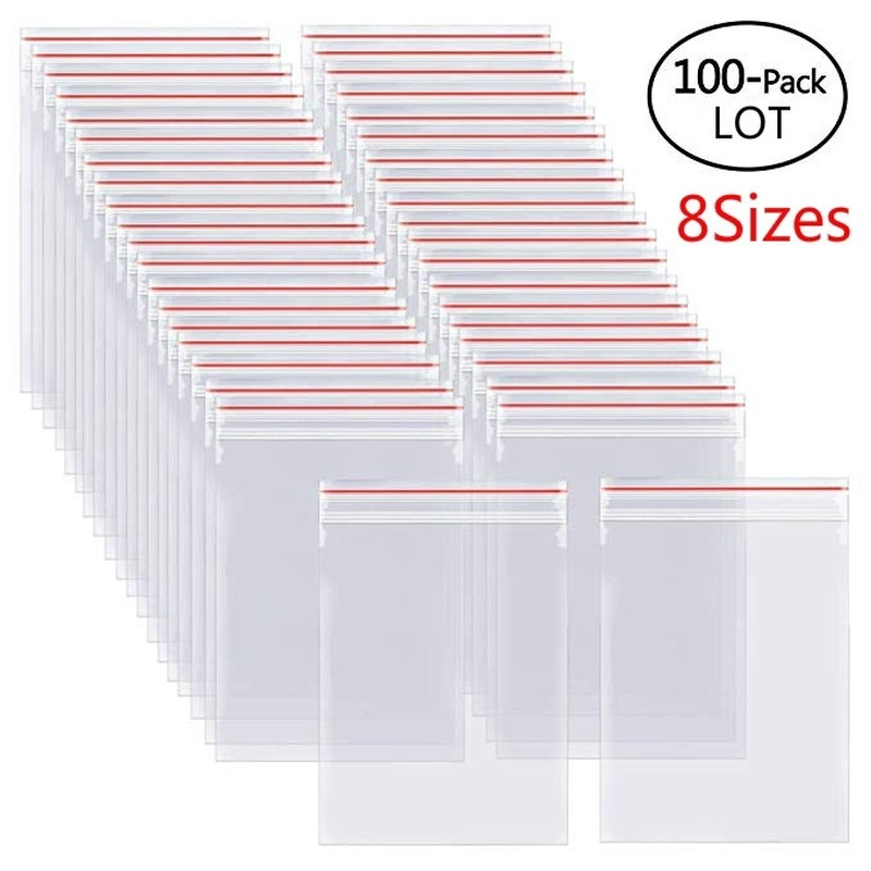 100/300/500Pcs/Pack Resealable Plastic Zip Lock Bags Clear Poly Zip lock Bag Food Storage Reclosable Vacuum Fresh Organize Bag