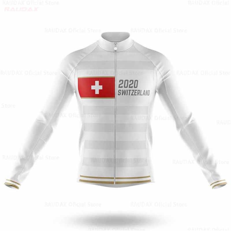 스위스 프로 팀 남자 긴 소매 사이클링 저지 봄 여름 의류 자전거 야외 산악 도로 자전거 의류 통기성