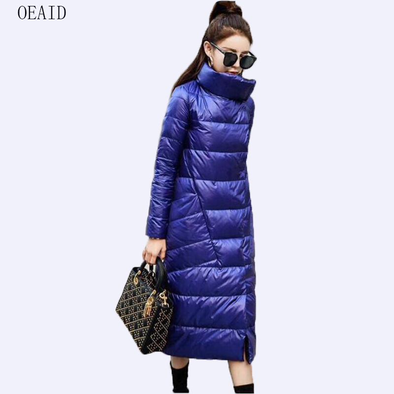 Fashion women's   down   jacket long slim White duck   down   jackets female 2019 new   down     coat   women jacket outerwear