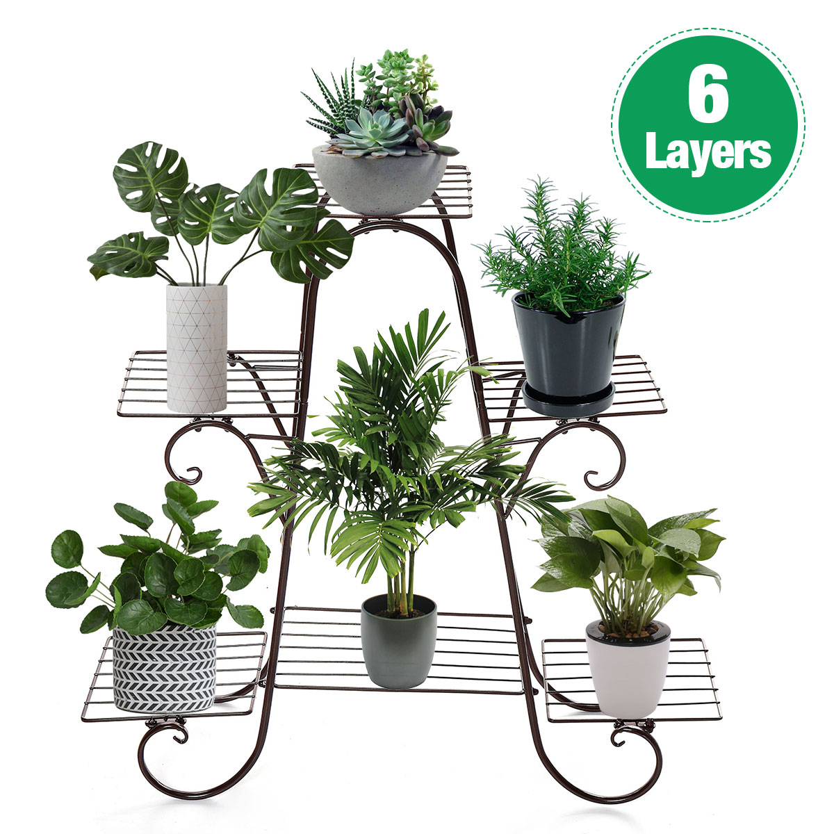 6 Layers European Wrought Iron Flower Stand Indoor Multi-story Flower Stand Rack Floor-standing Balcony Flower Pot Shelves
