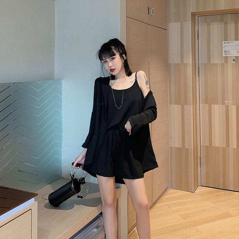Thin Suit + New Style Small Camisole + Wide-Leg Shorts Chiffon WOMEN'S Suit Three-piece Set