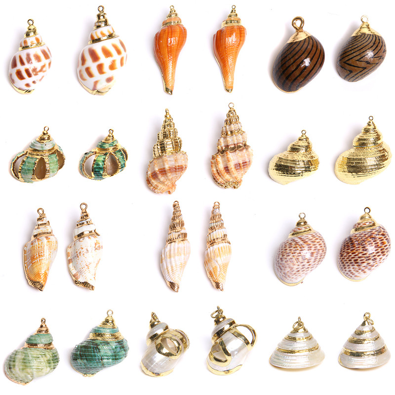 5pcs Natural Shell Beads Pendant Irregular Conch Cowire Sea Shell Beads Charms for DIY Fashion Boho Necklace Bracelet Earrings