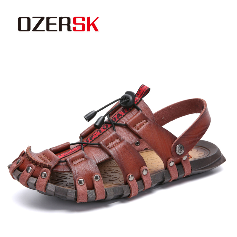 OZERSK New Casual Men Soft Sandals Comfortable Men Summer Leather Sandals Men Roman Summer Outdoor Beach Sandals Big Size 38-47