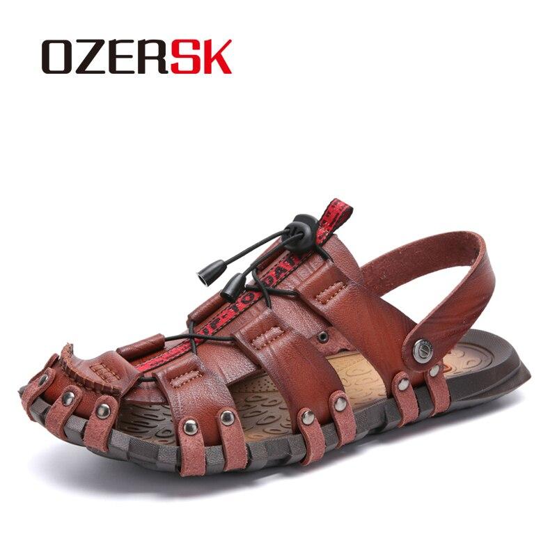 OZERSK New Casual Men Soft Sandals Comfortable Men Summer Leather Sandals Men Roman Summer Outdoor Beach Sandals Big Size 38-47