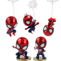 5pcs/lot Infinity War Spiderman Action Figure Iron Spider-Man Peter with Silk Web Model Toys