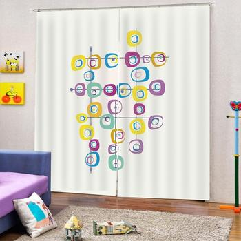 Cartoon colorful picture curtain for 3d Digital print living room backout window Custains