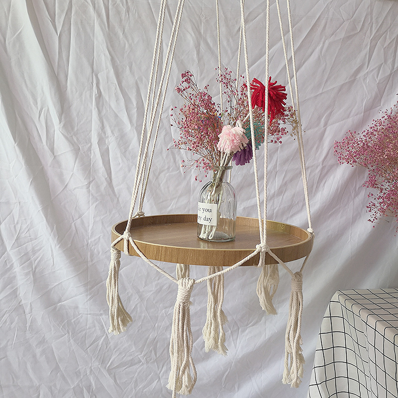 Бохо макраме Подвесная подставка для растений деревянная полка тарелка ручной работы в корейском скандинавском стиле домашний декор для спальни кровать сбоку небольшие вещи Органайзер|Ловцы снов и подвесные украшения|   | АлиЭкспресс - Красивые полки для дома