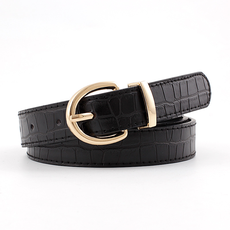 2020 Designer Women's Black White Red Wide Faux Crocodile Leather Belt Female Woman Fashion Belts For Women Jeans Cinto Feminino