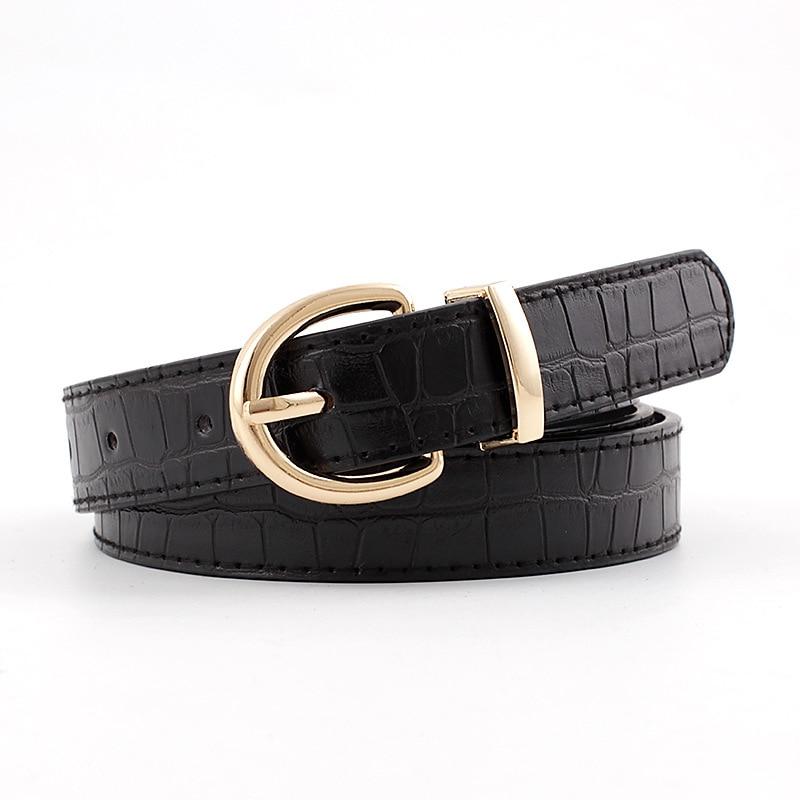 2020 Designer Women's Black White Red Wide Faux Crocodile Leather Belt Female Woman Fashion Belts For Women Jeans Cinto Feminino