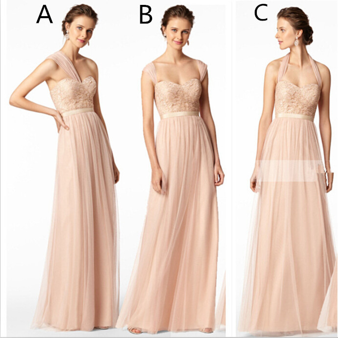Cheap Long Tulle Lace Bridesmaid Dresses For Weddings 2015 Sexy Party Gowns Custom Made Floor-length A-line Vestidos Para Festa