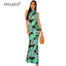 Женское длинное богемное пляжное платье с цветочным принтом