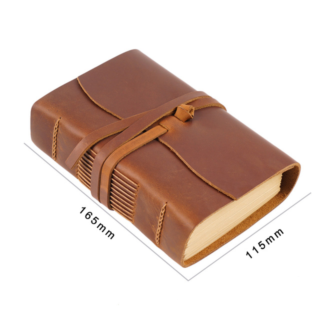 Thick Genuine Leather Journal Book 400P 165mm 115mm 40mm Blank Paper Sketchbook Hand Made Band Notebook