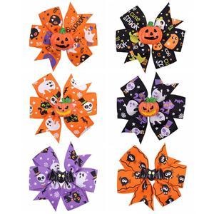 3.4 inchs Halloween Decoration Grosgrain Ribbon Hair Bows For Baby Girls Ghost Pumpkin Pinwheel Hair Clips Hair Accessories