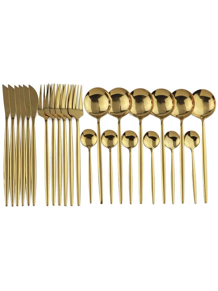 24 шт. золотой набор посуды зеркало Нержавеющаясталь набор посуды Ножи вилка, кофейная ложка набор столового прибора можно мыть в посудомое...