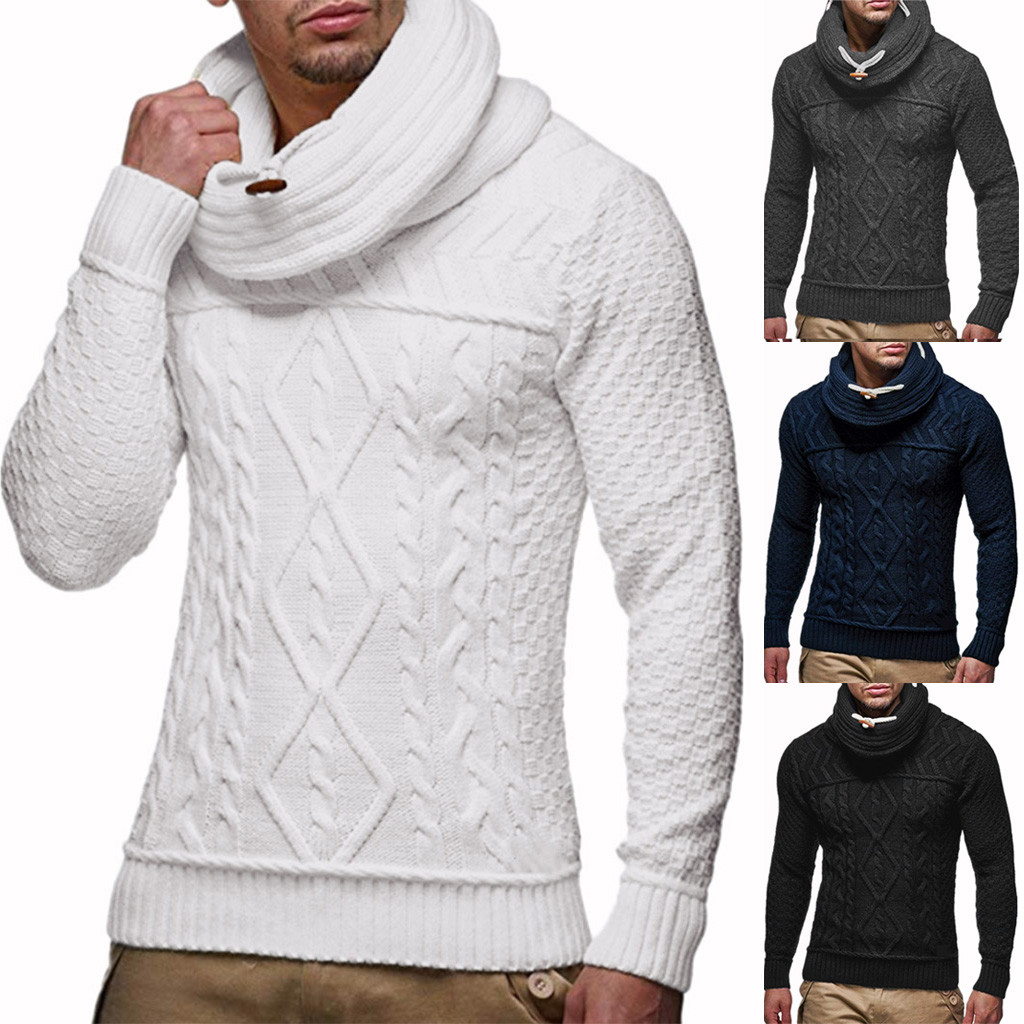 Men's Autumn Winter Pullover Knitted Warm Jumper Drape Choker Sweater Blouse Top Dropshipping Fashion Leisure Jobs Clothes Retro