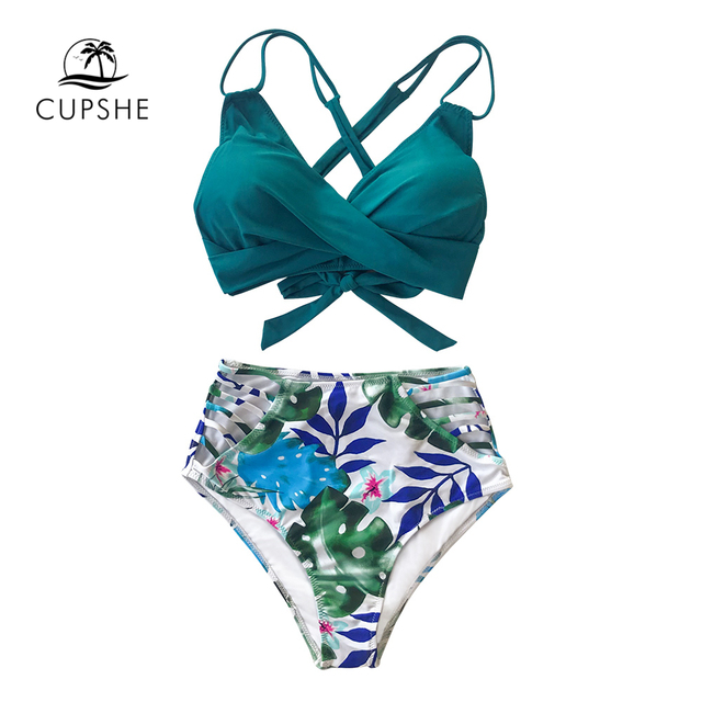 CUPSHE Tropical Palms Twist-Front High-Waisted Bikini Sexy Lace Up Swimsuit Two Pieces Swimwear Women 2020 Beach Bathing Suit 8