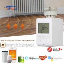 WIFI TUYA home gateway zigbee smart valve for floor heating radiator thermostat Works with Alexa Google home cheap HESSWAY Laboratory Thermostatic Devices HS369 3 AA* 1 5V alkaline batteries 90mA zigbee 3 0 controller 868MHz 915MHz or 2 4GHz