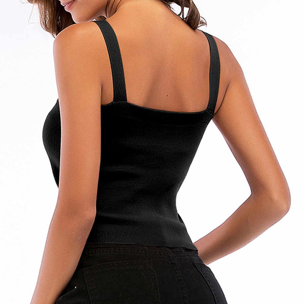 Moda de las mujeres de punto Halter superior Sexy apretado sin mangas de longitud corta blosuede corto superior mujer nuevo gótico Sexy camiseta sin mangas 4 colores F1