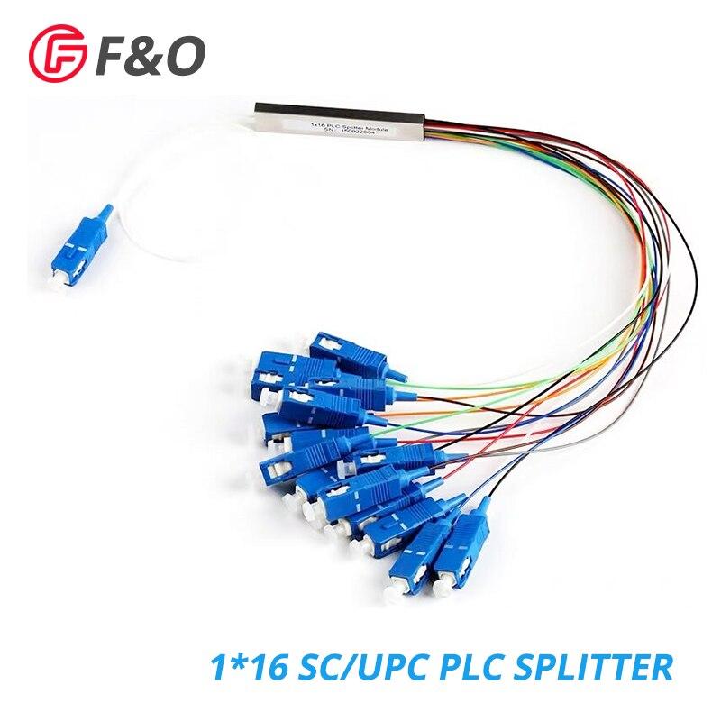 Séparateur optique simple de plc de FTTH 0.9mm de Fiber optique de SC UPC 1x16