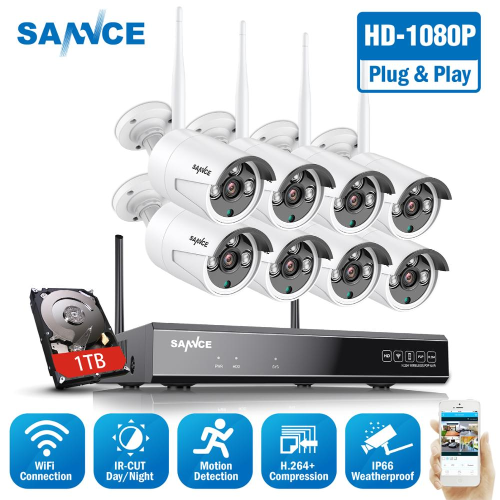 SANNCE 8CH 1080P Wi-fi CCTV Security Camera System  8pcs 2MP Wireless Outdoor Wifi IP Camera P2P Video Surveillance System Kit