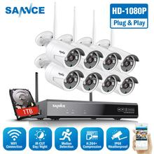 Sannce 8ch 1080 p wi fi cctv sistema de câmera segurança 8 pçs 2mp sem fio ao ar livre wi fi ip câmera p2p sistema vigilância vídeo kit