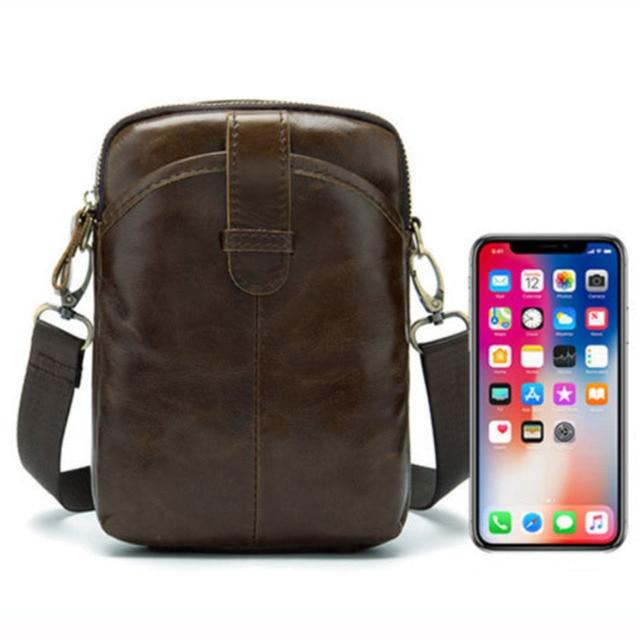 Vintage Men Messenger Bags Genuine Leather Mini Travel Bag 8