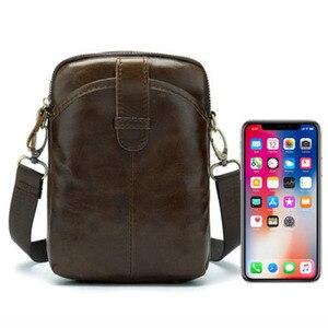 Image 5 -  Vintage Men Messenger Bags Genuine Leather Male Mini Travel Bag  Man Shoulder Bags Small Crossbody Bag For Mens Men Leather Bag