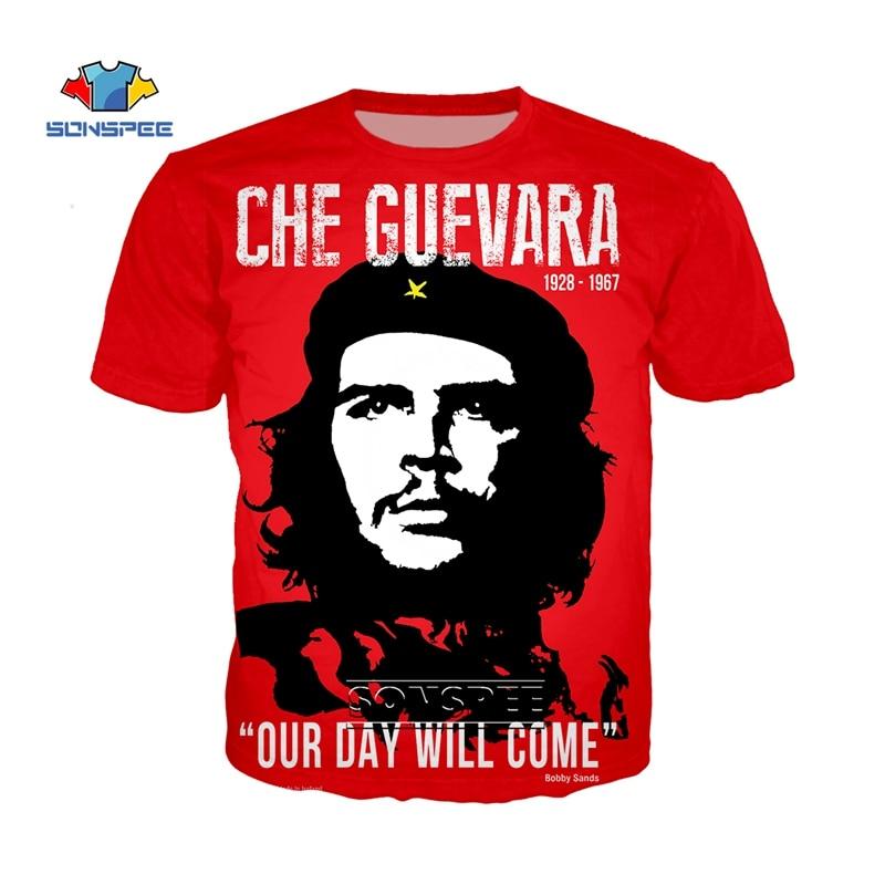 SONSPEE Che Guevara Graffiti T Shirt Men Women Custom 3d Print T-Shirt Summer Anime Streetwear Casual Oversized Tee Shirt Homme