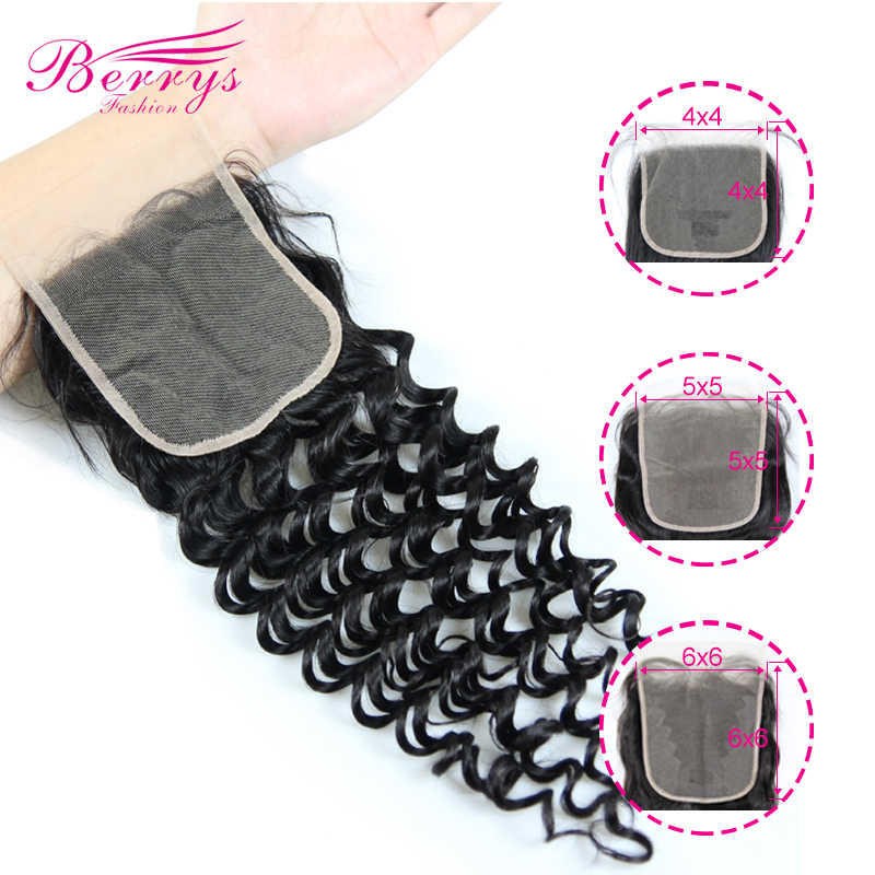 Berrys Fashion Diepe Golf Transparante 4X4 & 5X5 & 6X6 Vetersluiting 10-20inc Prepluncked sluiting Onverwerkte Human Hair Extensions