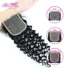 Berrys moda derin dalga şeffaf 4x4 & 5x5 ve 6x6 dantel kapatma 10 20inc Prepluncked kapatma işlenmemiş insan saçı uzantıları
