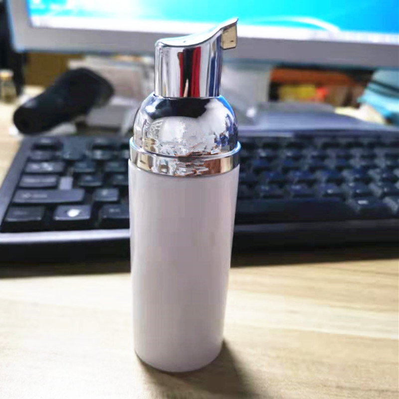Купить с кэшбэком Drop Ship 60ml Plastic Foam Bottle Pump Facial Lash Cleanser Clear Liquid Soap Dispenser cheapest Foam bottle with golden foamer