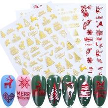 3D kalkomanie do paznokci złote czerwone naklejki świąteczne do paznokci płatki śniegu napis samoprzylepne Charms suwak projekt dekoracje TRSTZG041 049