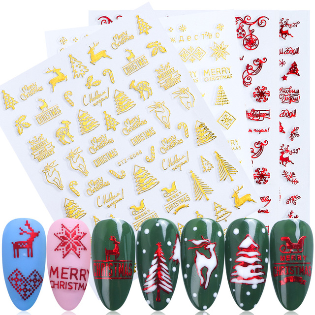 3D נייל מדבקות זהב אדום חג המולד אמנות ציפורן מדבקות פתיתי שלג אותיות דבק קסמי מחוון עיצוב קישוטי TRSTZG041 049
