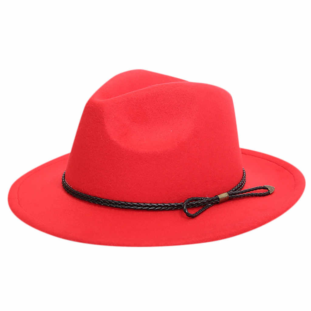 Rajutan Wol Topi untuk Wanita Crusher Merasa Pedalaman Panama Wide Brim dengan Sabuk Topi Warna Solid Musim Panas Suncreen Topi untuk